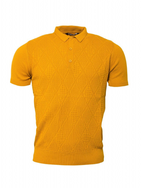 Relco Mustard Ribbed Knitted Polo